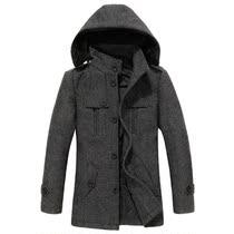 杰克琼斯加厚男士外套 韩版修身男装青年中长款羊毛呢子大衣潮 价格:179.00