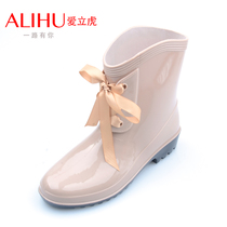 时尚中筒雨靴子女士防雨鞋 女雨靴子胶鞋套鞋增高防雨鞋子防水鞋 价格:58.08