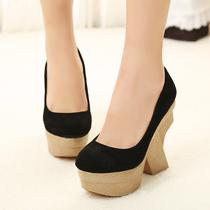 新款欧美英伦松糕鞋复古女鞋圆头防水台真皮厚底粗跟高跟鞋单鞋 价格:91.80
