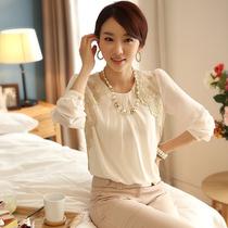 2013夏秋新款韩版女装休闲蕾丝花边雪纺衫长袖衬衫女打底衫上衣 价格:59.80