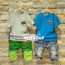 2013夏装新款宝宝婴儿衣服韩版潮儿童装男童上衣袋中手机短袖T恤 价格:52.00