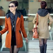 中年女装秋装风衣 气质妈妈装纯棉连帽中长款胖MM大码风衣外套 女 价格:149.00