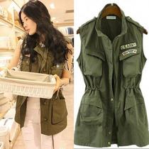 正品 大码新款秋装 韩国长款女式马夹军绿色马甲军装工装马甲外套 价格:59.00