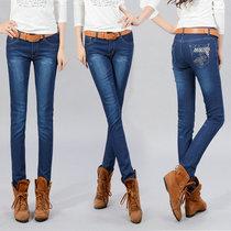 【特价包邮】韩版女式牛仔裤 秋季新款简约修身显瘦小脚裤长裤子 价格:35.00