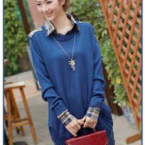 包邮秋装新款13韩版大码女装宽松针织衫衬衫领假两件中长毛衣外套 价格:88.00