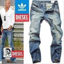 贝克汉姆阿迪达斯三叶草休闲牛仔长裤diesel宽松直筒男个性破洞裤 价格:88.00