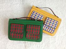 韩版学院风格子撞色拼接邮差包口袋装饰亮色系定型女包单肩斜挎包 价格:39.90