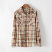 森女风磨毛纯棉 复古格子衬衫女装 2013秋新款韩版 长袖格子衬衣 价格:49.50