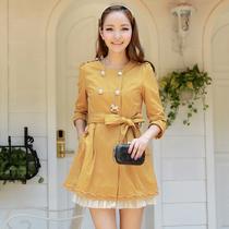 九美风尚2013秋装新款 中长款韩版风衣女款 腰带修身外套 女 3224 价格:129.00