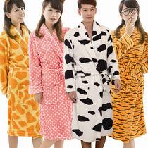 特价法兰绒睡袍情侣睡袍浴袍奶牛大码女士男士睡袍浴袍珊瑚绒睡衣 价格:59.00