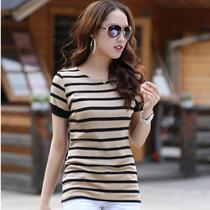 天天特价2013细条纹夏季修身短袖t恤女 打底衫韩版大码女装上衣 价格:39.00