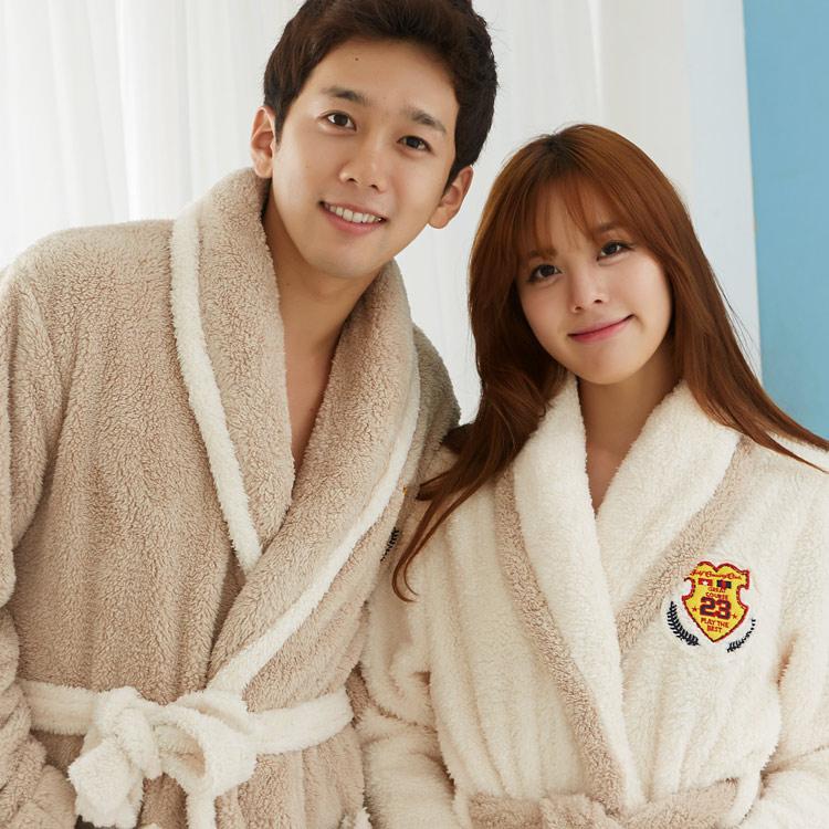 穗迪美情侣睡袍加厚珊瑚绒加长法兰绒浴袍冬季韩国睡衣大码男女 价格:98.00
