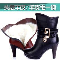 冬季女鞋韩版优雅短靴女高跟马丁靴真皮羊毛棉靴子拉链厚底雪地靴 价格:248.00