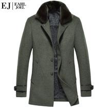 伯爵卓尔新款 奢华真毛领 中长款羊毛呢大衣 男呢大衣 男毛呢外套 价格:699.00