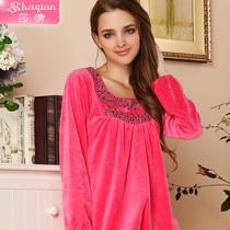 莎倩女人睡衣天鹅绒家居服女士秋冬季长袖睡衣套装高贵优雅居家服 价格:148.00