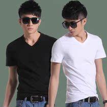 美特斯邦威 男t恤 男士短袖T恤纯色黑色白色V领男装全棉修身夏装 价格:39.00