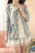 2013秋冬新款日系复古羊毛长袖贴布针织衫针织开衫外套女装 价格:89.00