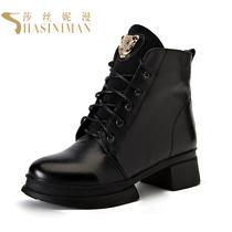 2013新款靴子春秋短靴真皮机车靴马丁靴豹子头骑士靴厚底女学生款 价格:288.00