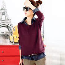 优里格 秋季新款女装 韩版宽松牛仔拼接假两件套头针织毛衣Z2216 价格:156.00