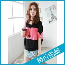 2013夏装新款韩版大码女装 时尚蝙蝠袖拼接宽松修身休闲短袖T恤 价格:8.40
