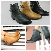 V**C 简单基本款搭扣修脚中跟全真皮短靴 三色 价格:299.00