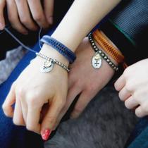 韩国代购 richbon正品 Valentino鱼骨辫皮链十字架吊坠情侣手链 价格:60.00