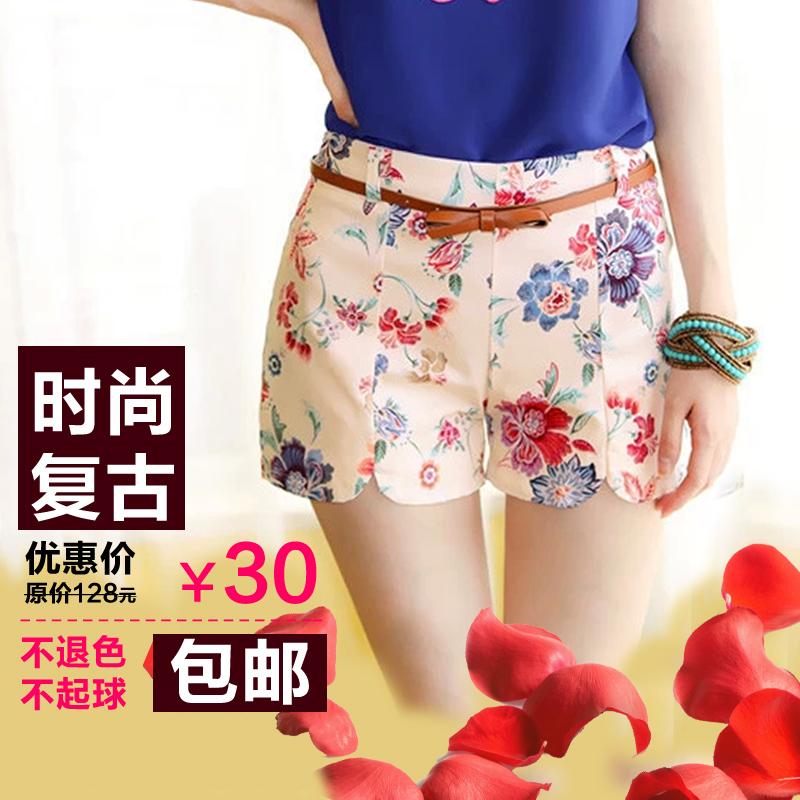 特价包邮2013夏装新品韩版女装时尚复古印花碎花朵修身纯棉短裤 价格:30.00