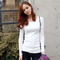 2013春装新款 韩版修身纯白色圆领长袖女士纯棉打底T恤衫 价格:36.00