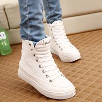 2013韩版纯白色帆布鞋包邮女高帮鞋内增高休闲鞋厚底松糕鞋单鞋潮 价格:58.00