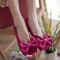 真皮包邮2013圆头平跟平底鞋超大蝴蝶结森女风鞋子枚红色娃娃单鞋 价格:99.00