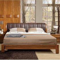 中式卧房家具 高端乌金木色实木双人床 黑色全真皮软靠床1.8/1.5 价格:4000.00