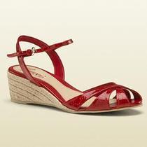 美国代购古奇Gucci女鞋凉鞋中跟坡跟红色漆皮294362 AV100 6523 价格:3900.00