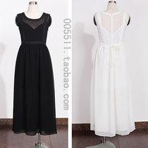 2013夏季新款 韩国代购高腰显瘦白色无袖雪纺两件套连衣裙长裙 sz 价格:138.00