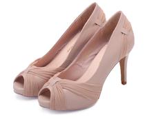 妙不思2013秋季伴娘鞋婚鞋单鞋 蕾丝裸色高跟鱼嘴低帮凉鞋女鞋子 价格:5.00