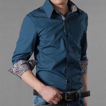 正品新款男士商务长袖衬衣 英伦修身2013秋夏雅痞男式原创衬衫潮 价格:79.90