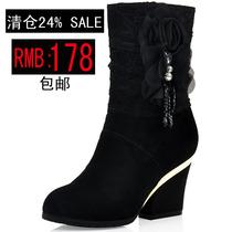 2013冬季牛皮高跟短靴真皮粗跟骑士靴蕾丝靴子侧拉链花朵厚底女靴 价格:178.00