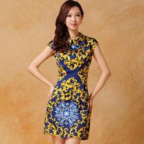 2013夏装新款 金镶玉 通勤女装翻领无袖复古印花连衣裙子S610 价格:130.00