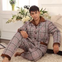 加厚夹棉睡衣男式 冬季新款家居服 男士加厚珊瑚绒夹棉睡衣套装 价格:109.00