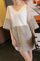 2013秋装新款 欧美风 毛呢拼接雪纺七分袖连衣裙(送背心)F22 价格:32.00