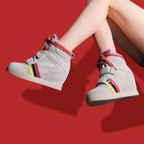 韩版春秋季休闲拼接高跟真皮高帮鞋坡跟魔术贴厚底内增高潮女鞋子 价格:188.00