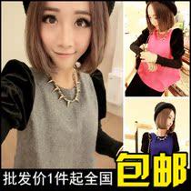 包邮2013冬季新款超好质量气质撞色袖马海毛呢子娃娃衫上衣女 价格:16.99