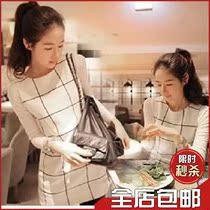 2013秋冬季女装新款潮韩版修身大码名媛两件套长袖方格子连衣裙子 价格:50.00