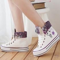 包邮 热卖休闲韩版高帮帆布鞋女款 松糕跟创意卡通系列增高鞋潮款 价格:28.00