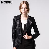 欧美机车皮衣 短款 Honru2013秋装新款欧洲站皮夹克修身外套 女 价格:249.00