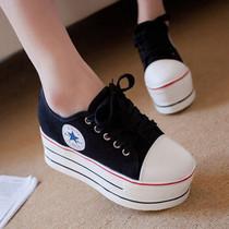 包邮2013超高松糕跟厚底女鞋7CM增高鞋帆布鞋低帮系带码绑带秋季 价格:39.90