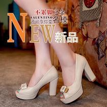2013甜美公主高跟鞋粗跟气质蝴蝶结淑女鞋鱼嘴凉鞋 春夏新款女鞋 价格:108.00