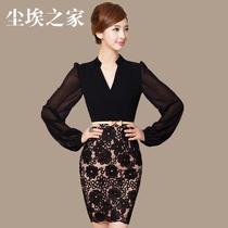 瑞2013秋装新款OL优雅修身V领灯笼长袖连衣裙 F54 有大码 价格:168.00