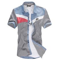 特价爆款社会青年大学生清新潮流格子衬衣男拼接撞色短袖衬衫酷促 价格:39.00