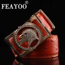 沸鱼/feayoo 正品牛皮腰带镶钻鹰头豹头女式韩版潮双面用真皮皮带 价格:89.00
