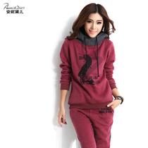 安妮黛儿卫衣套装 休闲卫衣两件套 套头韩版女装加厚秋冬抓绒卫衣 价格:129.00